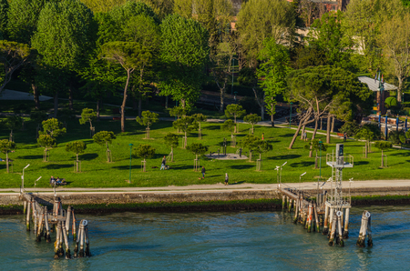 groomed garden by the sea in Italy Stock Photo