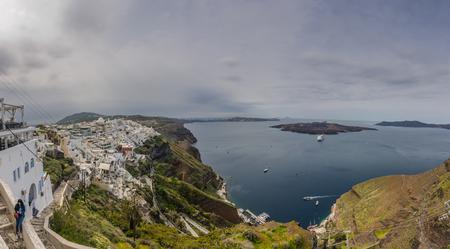wide view in santorini panorama view Stock Photo