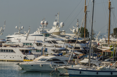 yachts in the harbor of Athens at the sea