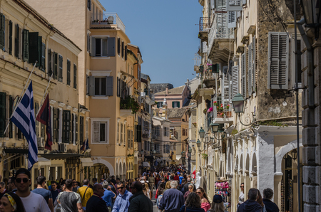 many tourists in Corfu town in summer Stock Photo