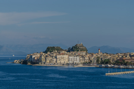 Corfu town by the sea in summer