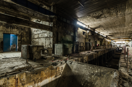 big hall in abandoned paper factory Stock Photo