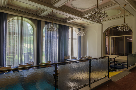 beautiful saloon in a deserted old hospital