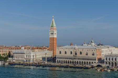 St. Marks Square with gondolas in Venice Italy Stock Photo