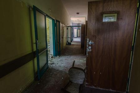 corridor in an abandoned hospital Stock Photo