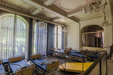 abandoned saloon in an old hospital