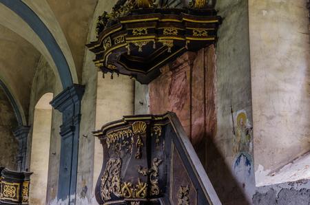 beautiful decorated pulpit in church closeup
