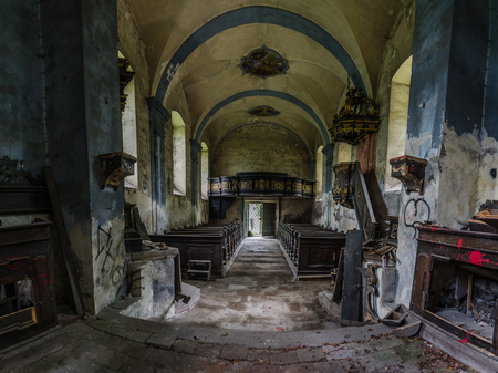 old abandoned church panorama view