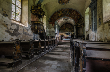 abandoned old church in the forest and mountains