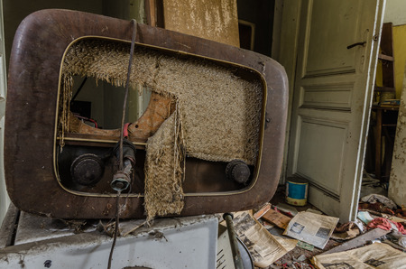 old radio in an abandoned house