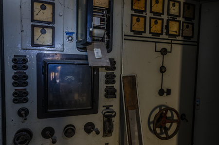 displays of control room in abandoned factory