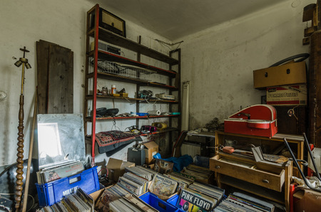 many vinyl records in old house