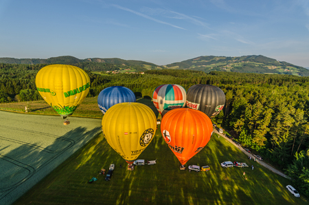Colorful hot air balloons on the ground before taking off