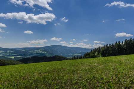green meadow and far view into the landscape