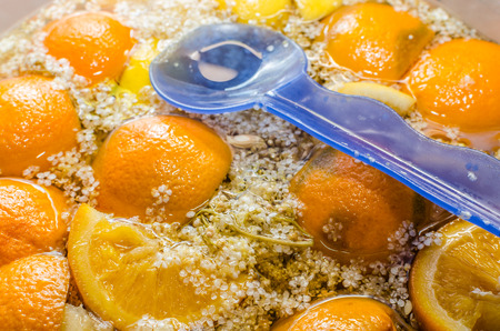 Elder flower juice with fresh oranges Stock Photo