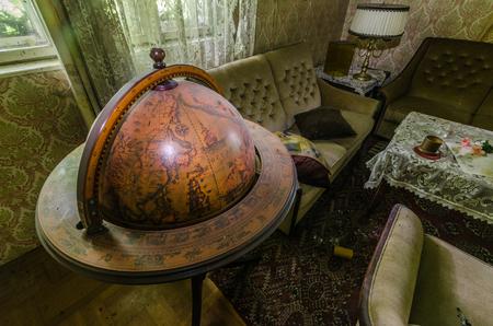 beautiful historical wooden globe Editorial