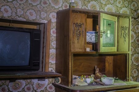 tv and wooden box in a room of the house