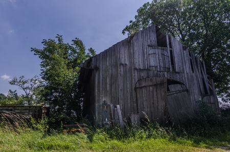 abandoned old wooden barn