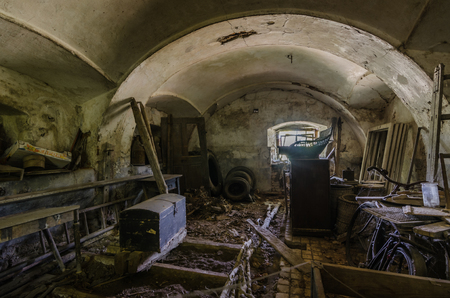 Old vault with objects in a castle