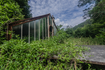 old abandoned glasshouse of a farmyard 스톡 콘텐츠
