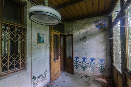 covered terrace in old abandoned villa 스톡 콘텐츠
