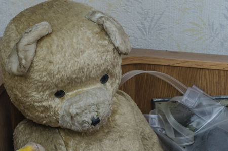 old teddy bear in a room of old house