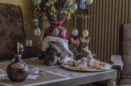 Easter decoration in a deserted old house Editorial