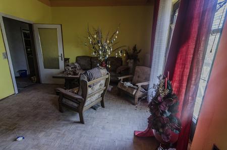 Easter tree in a deserted living room