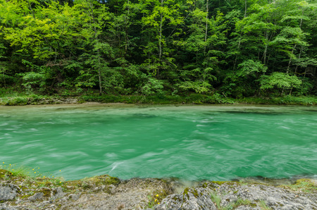 Green river in motion in the mountains