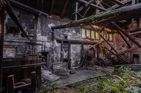dark old foundry with plants Imagens