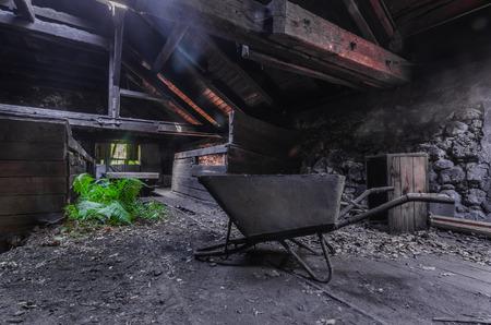 Wheelbarrows in an old foundry