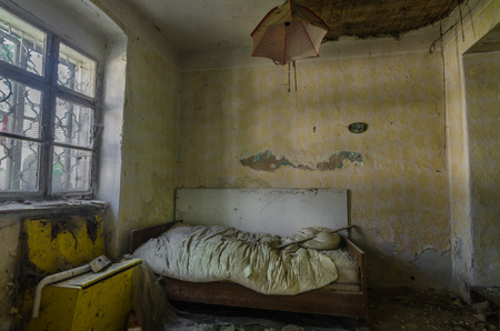 bed with umbrella on the ceiling in a house