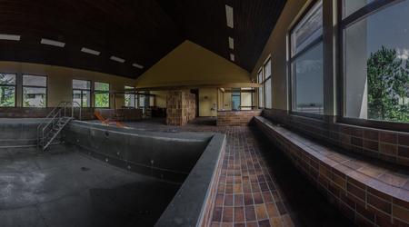 empty abandoned swimming pool panorama view Reklamní fotografie