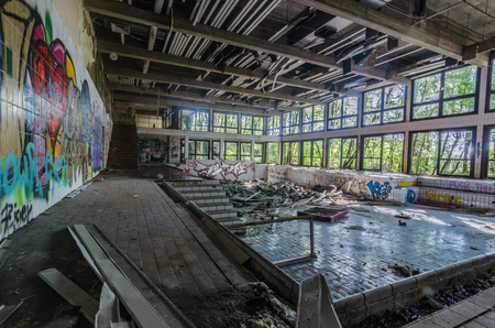 Old abandoned indoor pool in a spa center