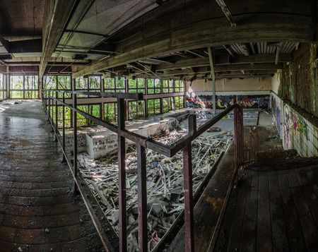 view from above in abandoned indoor pool panorama view