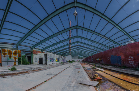 Steel structure on roof of a factory Panorama view