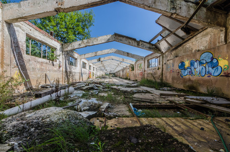 abandoned factory building without roof