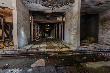 Cold concrete halls in old factory