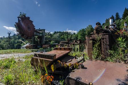 bucket wheel excavators and rusty machines in nature