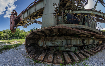 old bucket wheel excavator on a terrain wide angle view