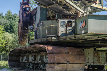 Detail view of a bucket wheel excavator in the mountains Imagens
