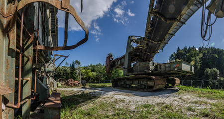 panorama view of a bucket wheel excavator and machinery