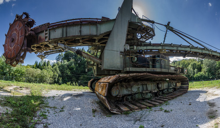 View of old bucket wheel excavator in the mountains