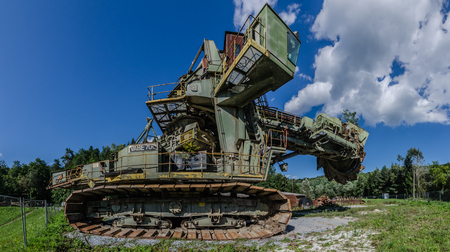 bucket wheel excavator with sky and clouds panorama view