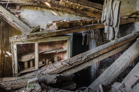 collapsed kitchen in an old house Imagens