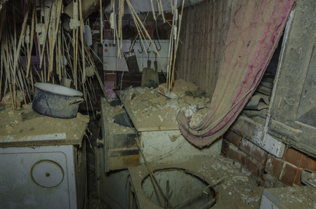 old collapsed kitchen in a house