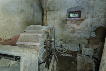 Storage room with machines in an old house Imagens