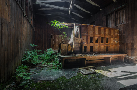 Changing rooms in abandoned forest bath panorama view