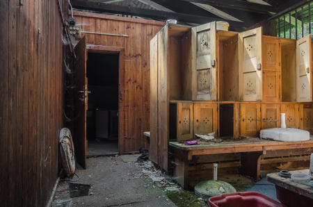 Changing rooms in a abandoned forest bath