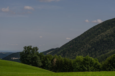 green nature with mountains and blue sky
